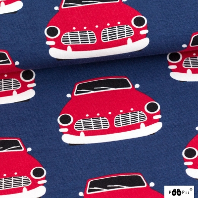 stof Paapii Vintage cars blueberry - red